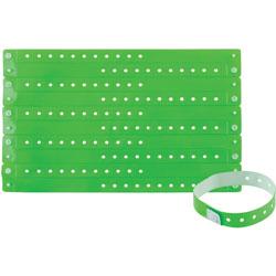 Advantus Wristbands, Vinyl, 3/5 inWx9-3/4 inLx1/50 inH, 100/PK, Green