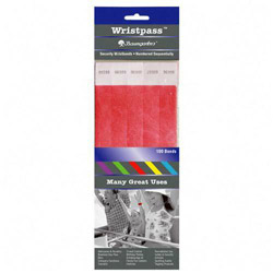 Baumgarten's Wristpass Security Wristbands, 3/4 in x 10 in, Red, 100/Pack