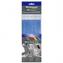 Baumgarten's Wristpass Security Wristbands, 3/4 in x 10 in, Blue, 100/Pack