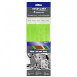 Baumgarten's Wristpass Security Wristbands, 3/4 in x 10 in, Green, 100/Pack