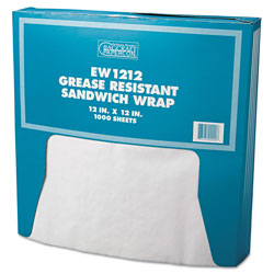 Bagcraft Grease-Resistant Paper Wraps and Liners, 12 x 12, White, 1000/Box, 5 Boxes/Carton