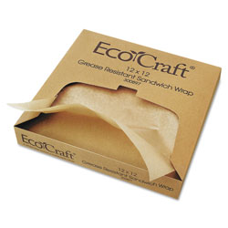 Ecocraft EcoCraft Grease-Resistant Paper Wraps and Liners, Natural, 12 x 12, 1000/Box, 5 Boxes/Carton