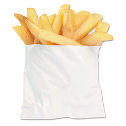 Bagcraft French Fry Bags, 4.5 in x 3.5 in, White, 2,000/Carton