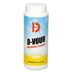 Big D D-Vour Absorbent Powder, Canister, Lemon, 16oz, 6/Carton