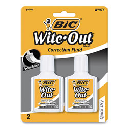 Bic Wite-Out Quick Dry Correction Fluid, 20 mL Bottle, White, 2/Pack