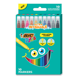 Bic Kids Ultra Washable Markers, Medium Bullet Tip, Assorted Colors, 10/Pack