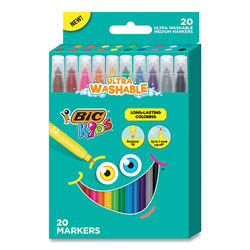 Bic Kids Ultra Washable Markers, Medium Bullet Tip, Assorted Colors, 20/Pack