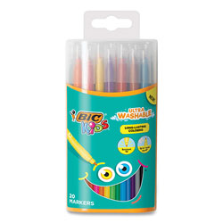 Bic Kids Ultra Washable Markers in Plastic Tube, Medium Bullet Tip, Assorted Colors, 20/Pack