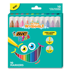 Bic Kids Ultra Washable Jumbo Markers, Medium Bullet Tip, Assorted Colors, 10/Pack