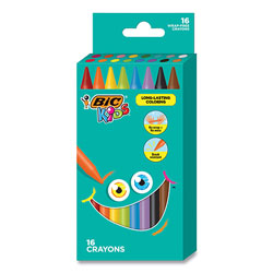 Bic Kids Coloring Crayons, 16 Assorted Colors, 16/Pack