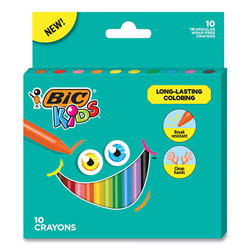 Bic Kids Coloring Triangle Crayons, 10 Assorted Colors, 10/Pack