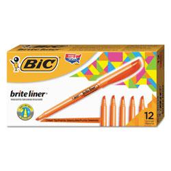 Bic Brite Liner Highlighter, Chisel Tip, Fluorescent Orange, Dozen