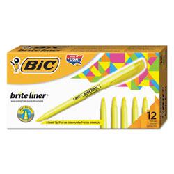 Bic Brite Liner Highlighter, Chisel Tip, Fluorescent Yellow, Dozen