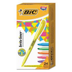 Bic Brite Liner Highlighter, Chisel Tip, Assorted Colors, 24/Set