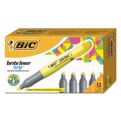 Bic Brite Liner Tank-Style Highlighter, Chisel Tip, Fluorescent Yellow, Dozen