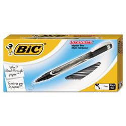 Bic Intensity Stick Porous Point Marker Pen, Fine 0.5mm, Black Ink/Barrel, Dozen