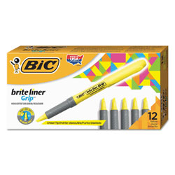 Bic Brite Liner Grip Pocket Highlighter , Chisel Tip, Fluorescent Yellow, Dozen