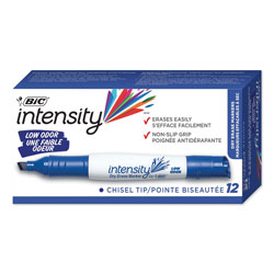 Bic Intensity Low Odor Dry Erase Marker, Broad Chisel Tip, Blue, Dozen