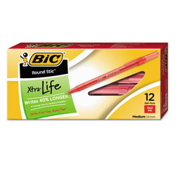 Bic Round Stic Xtra Life Stick Ballpoint Pen, 1mm, Red Ink, Translucent Red Barrel, Dozen