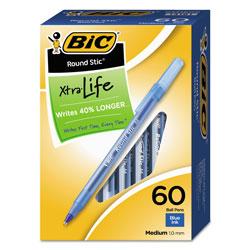 Bic Round Stic Xtra Life Stick Ballpoint Pen VP, 1mm, Blue Ink, Translucent Blue Barrel, 60/Box