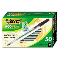 Bic Ecolutions Round Stic Stick Ballpoint Pen, 1mm, Black Ink, Clear Barrel, 50/Pack