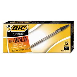 Bic Cristal Xtra Bold Stick Ballpoint Pen, 1.6mm, Black Ink, Clear Barrel, Dozen