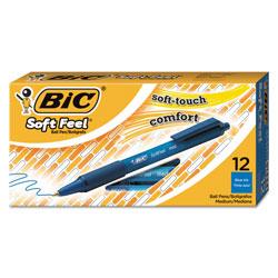 Bic Soft Feel Retractable Ballpoint Pen, Medium 1mm, Blue Ink/Barrel, Dozen
