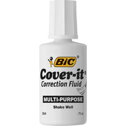 Bic Correction Fluid, Fast-Doorying, 20 ml, 12/BX, White