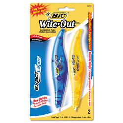 Bic Wite-Out Brand Exact Liner Correction Tape, Non-Refillable, Blue/Orange, 1/5 in x 236 in, 2/Pack
