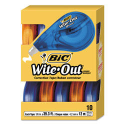 Bic Wite-Out EZ Correct Correction Tape, Non-Refillable, 1/6 in x 472 in, 10/Box