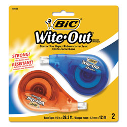 Bic Wite-Out EZ Correct Correction Tape, Non-Refillable, 1/6 in x 472 in, 2/Pack