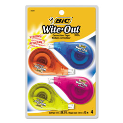 Bic Wite-Out EZ Correct Correction Tape, Non-Refillable, 1/6 in x 400 in, 4/Pack