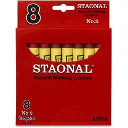 Staonal® Marking Crayon, Permanent, Jumbo Size, Nontoxic, Red, 8/Box