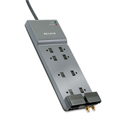 Belkin Home/Office Surge Protector, 8 Outlets, 12 ft Cord, 3390 Joules, Dark Gray