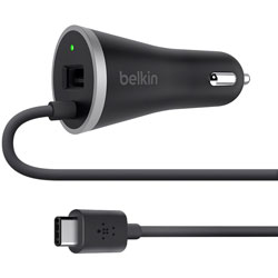 Belkin Car Charger, 4' USB-C Cable, USB-A,5-3/10 inx4-1/10 inx1-1/2 in ,BK