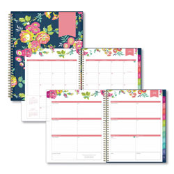 Blue Sky Day Designer Academic Year CYO Weekly/Monthly Planner, 11 x 8.5, Navy/Floral, 2020-2021
