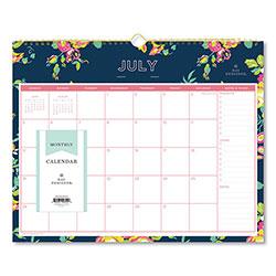Blue Sky Day Designer Academic Year Wall Calendar, 15 x 12, Navy/Floral, 2020-2021