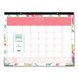 Blue Sky Day Designer Academic Year Desk Pad, 22 x 17, White Floral, 2020-2021