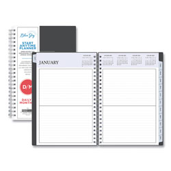 Blue Sky Passages Non-Dated Perpetual Daily Planner, 8.5 x 5.5, Black Cover, 2021-2025