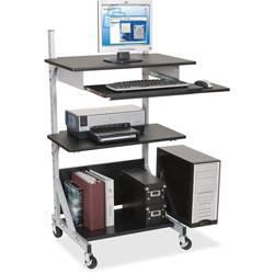Balt 42551 Totally Adjustable Sit/Stand Mobile Workstation, Black Laminate/Silver Metal