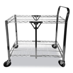 Bostitch® Stowaway Folding Carts, 2 Shelves, 35w x 37.25d x 22h, Black, 250 lb Capacity