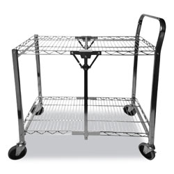 Bostitch® Stowaway Folding Carts, 2 Shelves, 35w x 37.25d x 22h, Chrome, 250 lb Capacity
