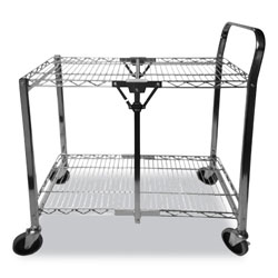 Bostitch® Stowaway Folding Carts, 2 Shelves, 29.63w x 37.25d x 18h, Black, 250 lb Capacity