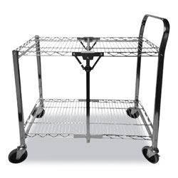 Bostitch® Stowaway Folding Carts, 2 Shelves, 29.63w x 37.25d x 18h, Chrome, 250 lb Capacity