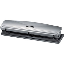 Stanley Bostitch 3-hole Punch, 12-Sheet, 2-1/2 inWx10-3/5 inDx1-7/10 inH, Silver/Black