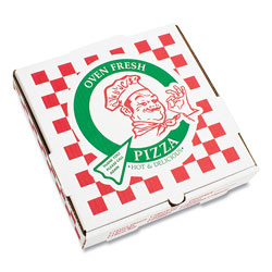 Pizza Box Corrugated Kraft Pizza Boxes, B-Flute, White/Red/Green, 14 in Pizza, 14 x 14 x 2.5, 50/Carton