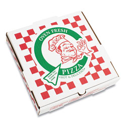 Pizza Box Corrugated Kraft Pizza Boxes, E-Flute, White/Red/Green, 12 in Pizza, 12 x 12 x 1.75, 50/Carton
