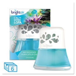 Bright Air Scented Oil Air Freshener, Calm Waters and Spa, Blue, 2.5 oz, 6/Carton