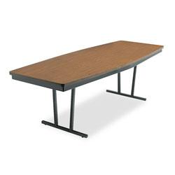 Barricks Economy Conference Folding Table, Boat, 96w x 36d x 30h, Walnut/Black