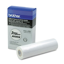 Brother 98' ThermaPlus Fax Paper Roll, 1 in Core, 8.5 in x 98ft, White, 2/Pack